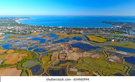 Aerial view of La Baule Escoublac city from Guerande salt marshes, Loire Atlantique, France