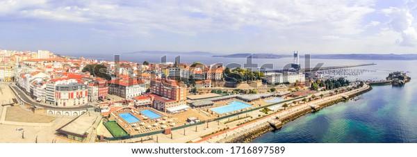 Aerial view in La Coruña, city of Galicia,Spain. Drone Photo