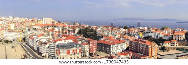 Aerial view in La Coruña, city of Galicia,Spain. Drone Photo