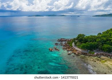 Aerial View: La Dique Anse Severe - Seychelles