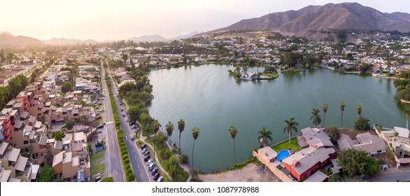 Aerial view of La Molina Lake. In LIma, Peru.
