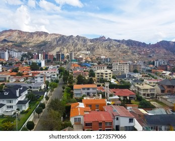 Aerial view of La Paz, Bolivia. South part of the city. South America