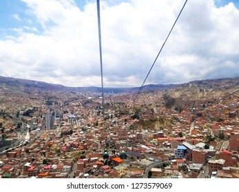 Aerial view of La Paz, Bolivia from a cable car. City center. South America