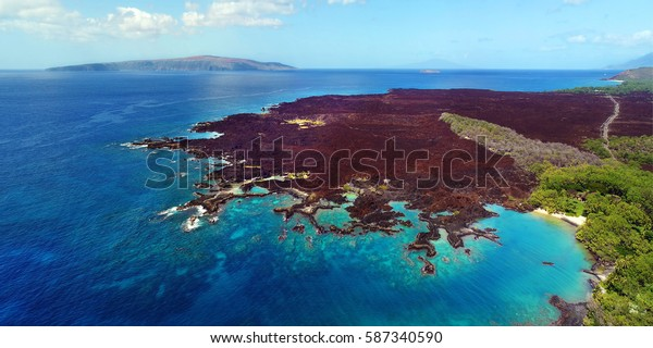 Aerial View - La Perouse Bay - Cape Kina'u - Island of Maui, Hawaii