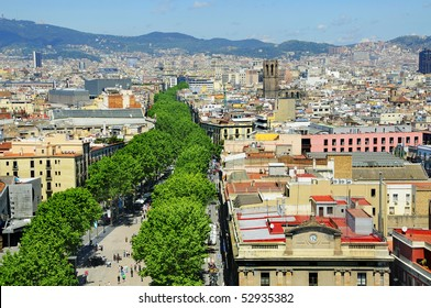 Aerial view of La Rambla and the skyline of Barcelona, Spain