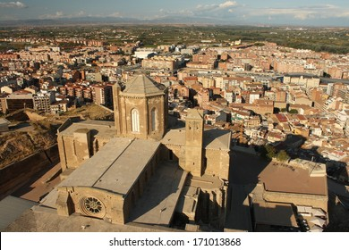 aerial view of La Seu Vella cathedral in Lleida, Spain