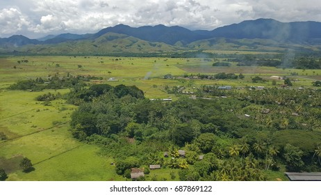 aerial view of Lae in Morobe province, Papua New Guinea coming into Nadzab airport