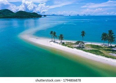 Aerial view of Laem Had Beach in Koh Yao Yai, island in the andaman sea between Phuket and Krabi Thailand