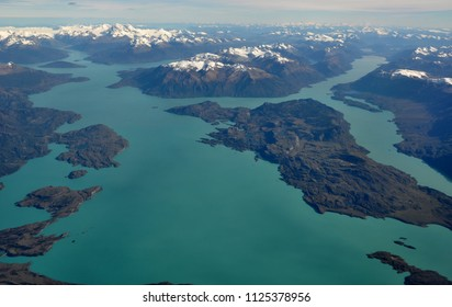 Aerial view of Lago San Martin, Patagonia, or Lago O'Higgins, and the Southern Patagonian Ice Field. Argentina and Chile