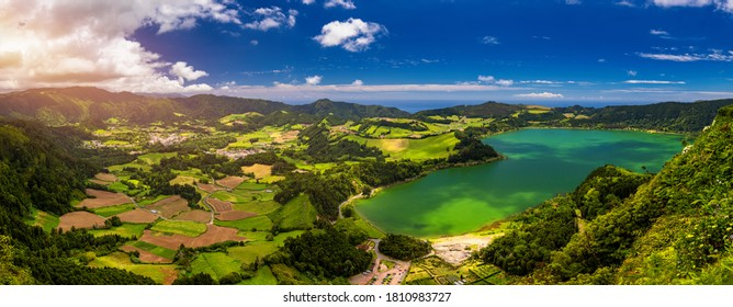 Aerial view of Lagoa das Furnas located on the Azorean island of Sao Miguel, Azores, Portugal. Lake Furnas (Lagoa das Furnas) on Sao Miguel, Azores, Portugal from the Pico do Ferro scenic viewpoint.