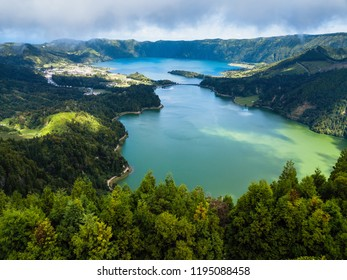 Aerial view of Lagoa Verde and Lagoa Azul - lakes in Sete Cidades volcanic craters on San Miguel island, Azores, Portugal.
