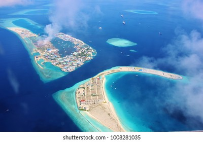Aerial view of the lagoon of the airport island of Male' in the Maldives