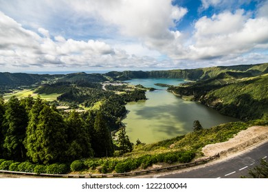 Aerial view of Lagoon of the Seven Cities Portuguese: Lagoa das Sete Cidades , located on Azorean island of Sao Miguel in Atlantic Ocean.