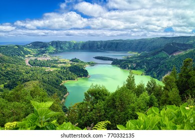 Aerial view of Lagoon of the Seven Cities (Portuguese: Lagoa das Sete Cidades), located on Azorean island of Sao Miguel in Atlantic Ocean.