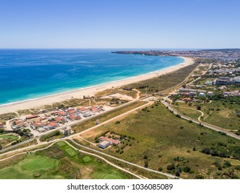 Aerial view of Lagos and Alvor, Algarve, Portugal
