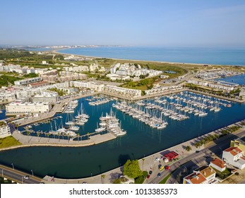Aerial view from Lagos Marina, Algarve, Portugal