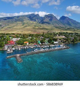 Aerial View - Lahaina Harbor & West Maui Mountains