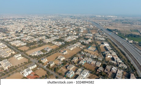 Aerial view of Lahore - Pakistan. Ring road around Lahore, old and modern housing development.