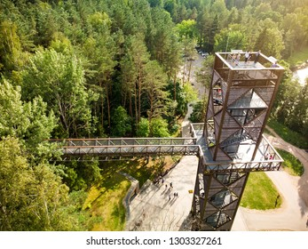 Aerial view of Laju takas, tree-canopy trail complex with a walkway, an information center and observation tower, located in Anyksciai, Lithuania.