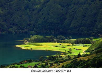 Aerial view Lake Azul and Lake Verde, Sete Cidades, Sao Miguel Island, Azores Portugal
