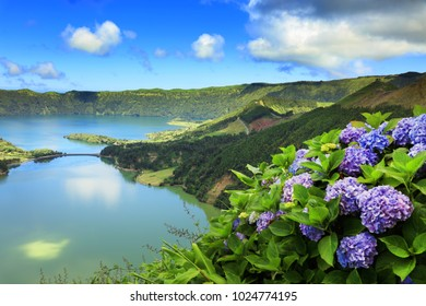 Aerial view Lake Azul and Lake Verde, Sete Cidades, Sao Miguel Island, Azores Portugal