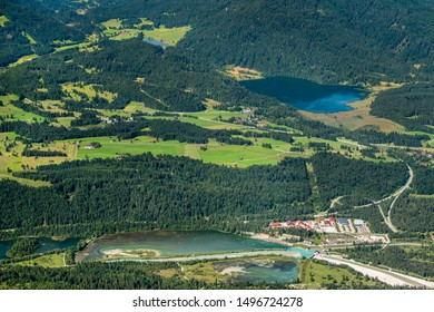 aerial view to lake Barmsee in Bavaria, Germany