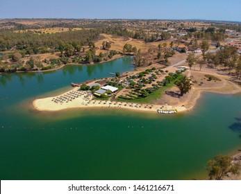 Aerial view from a lake with a beach. Mina de Sao Domingos, Alentejo Portugal