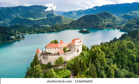 Aerial view of Lake Bled and the castle of Bled. Aerial FPV drone photography. Slovenia, Europe
