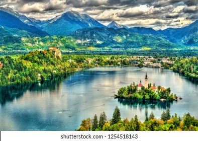 Aerial view of Lake Bled with the island. UNESCO world heritage in Slovenia