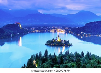 Aerial view of lake bled, Slovenia in the night