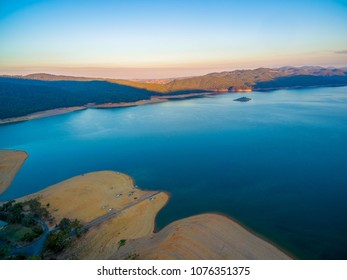 Aerial view of Lake Burrinjuck at sunset. New South Wales, Victoria, Australia