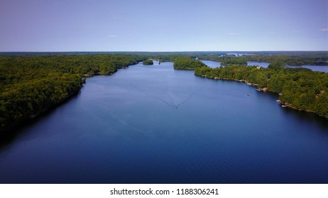 Aerial view of a lake in Canada