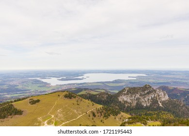 aerial view of lake Chiemsee seen from Mountain Kampenwand