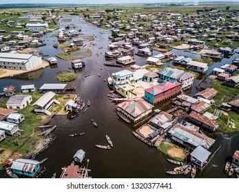 Aerial view lake city in BENIN africa