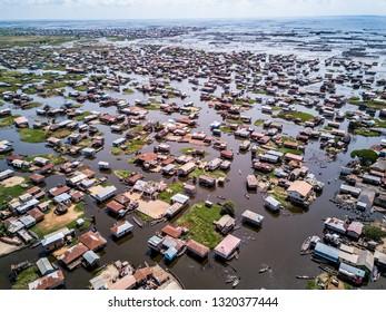 Aerial view of lake city ganvie in BENIN