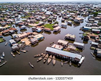 Aerial view of lake city the veins of Africa in BENIN