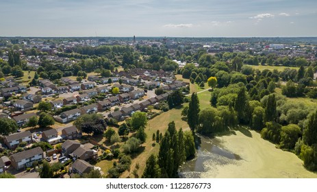 Aerial view of lake in Colchester, Essex