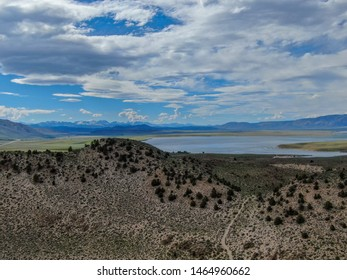 Aerial view of Lake Crowley over the mountain during hot summer day. Mono County, California, USA