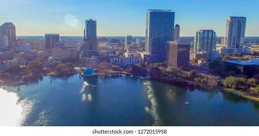 Aerial view of Lake Eola and Orlando Skyline, Florida