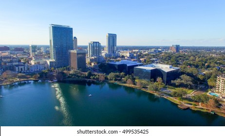 Aerial view of Lake Eola and Orlando Skyline, Florida