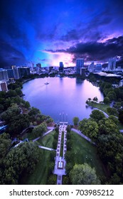 Aerial view of Lake Eola Park in Orlando Florida.