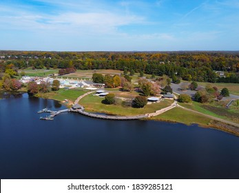 Aerial View of Lake Fairfax during Fall in Reston Virginia