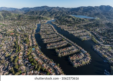 Aerial view of lake front homes around Westlake Island in the Thousand Oaks and Westlake Village communities near Los Angeles, California.