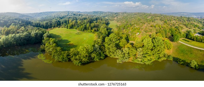 aerial view of lake in Germany