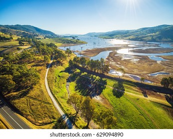 Aerial view of Lake Hume on bright sunny day. Trees casting beautiful long shadows. Victoria, Australia