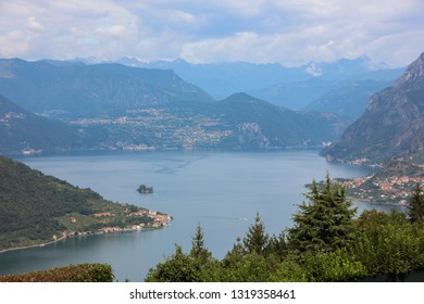 Aerial view of Lake Iseo. Lombardy region, Italy