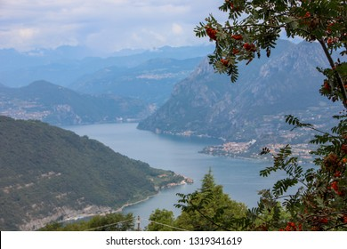 Aerial view of Lake Iseo and Montisola. Lombardy region, Italy