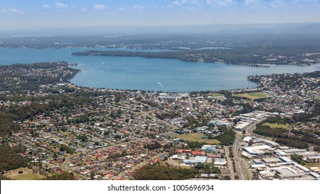 Aerial view of Lake Macquarie and Warners Bay - Newcastle Australia. The largest coastal lake in Australia is a popular area 25 minutes south of Newcastle CBD.