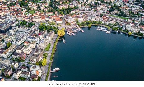 Aerial view  of Lake Maggiore in Locarno switzerland at morning