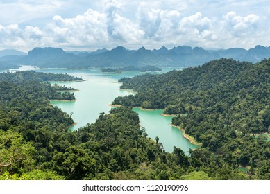 Aerial view of lake, mountain and forest at Krai Sorn view point, Khao Sok National Park.